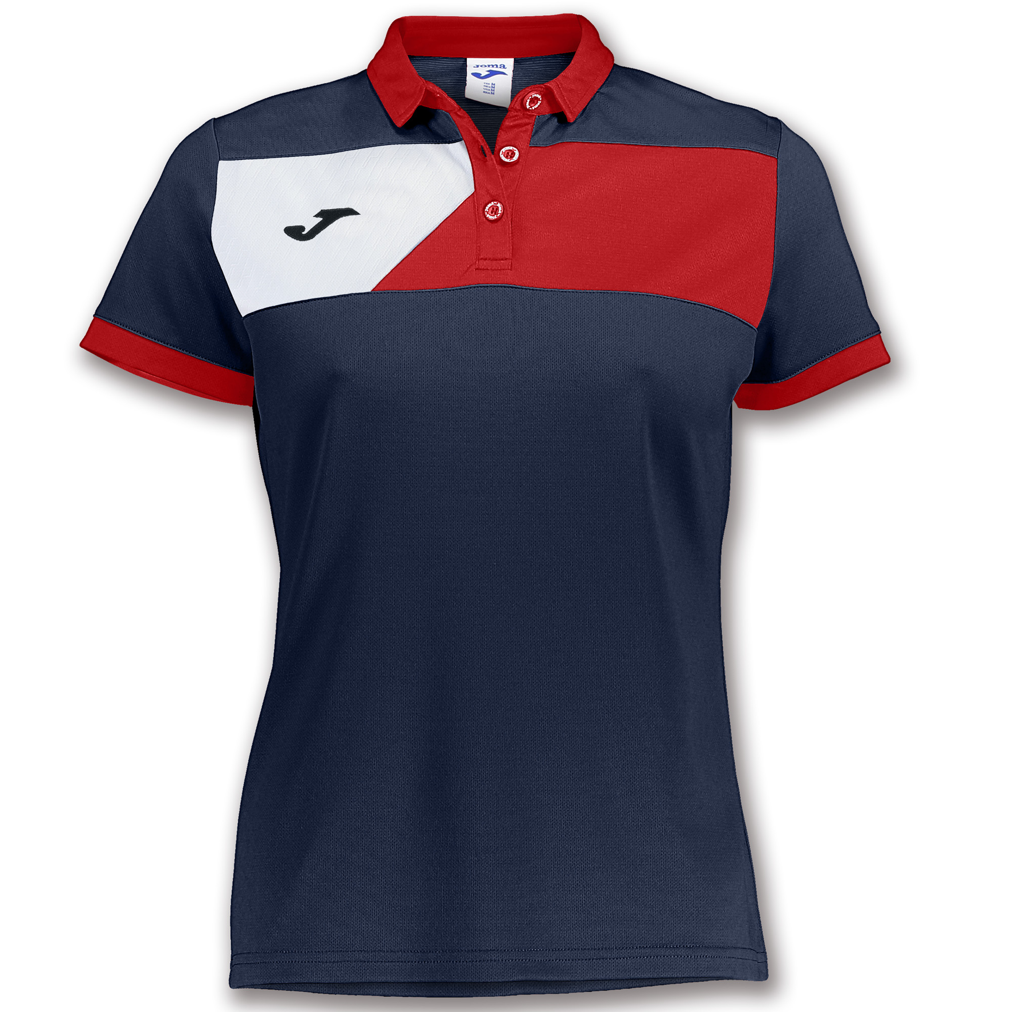 553050a7 S/S POLO SHIRT CREW II NAVY BLUE-RED WOMEN   JOMA