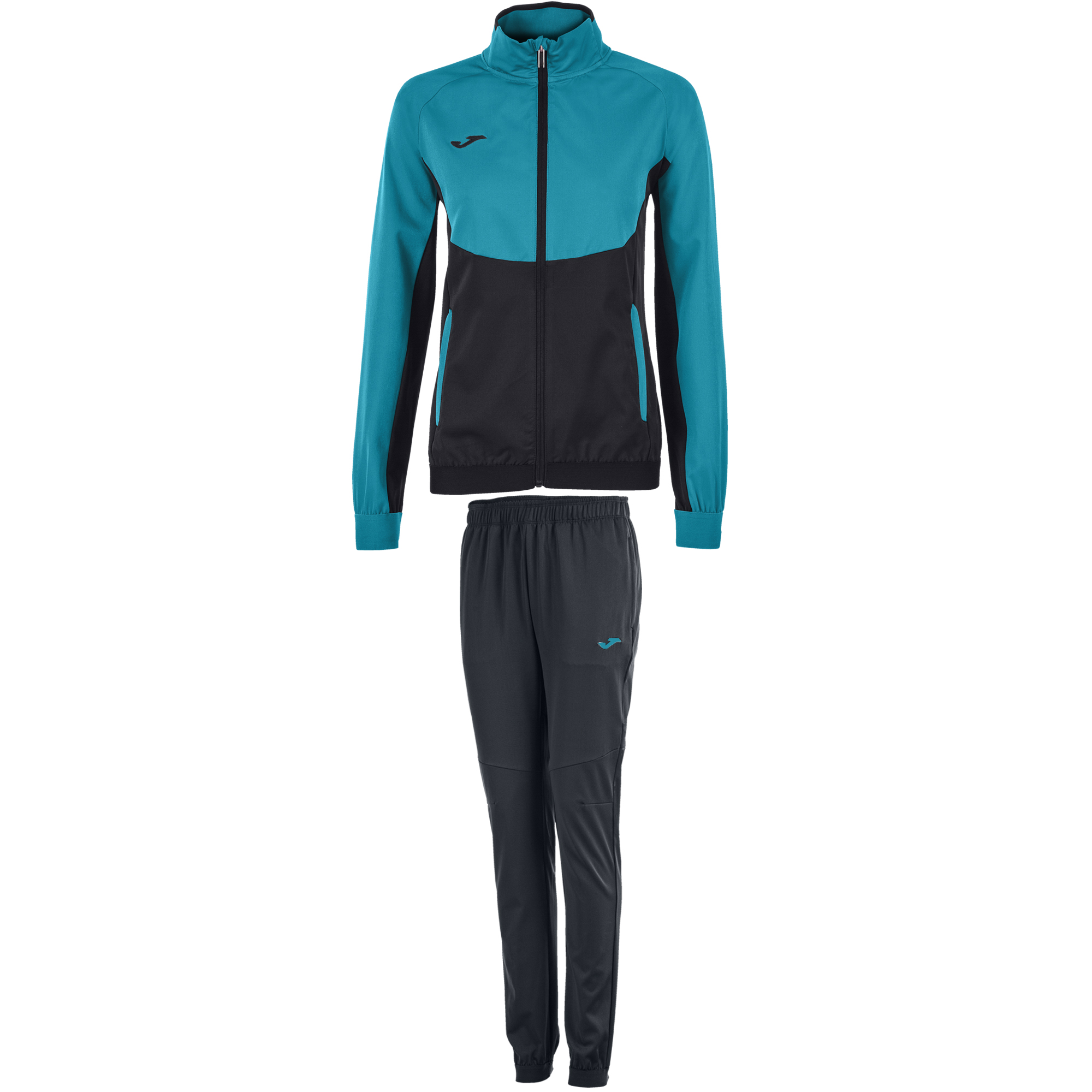 1b8ecf8e3efe TRACKSUIT ESSENTIAL MICROFIBER BLACK-TURQUOISE WOMEN - 1